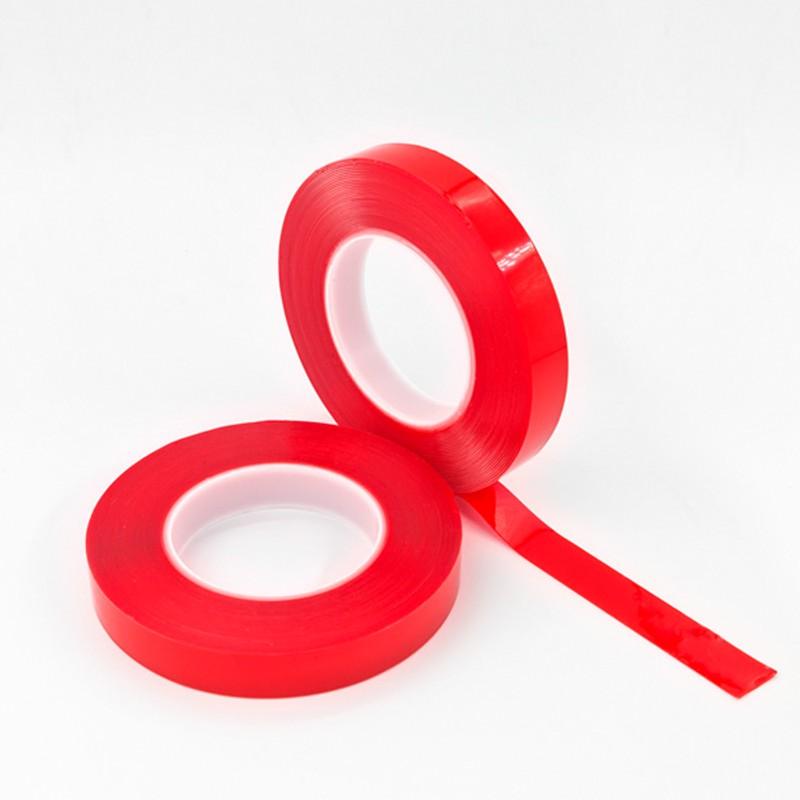 F3050C富印0.5mm红膜透明亚克力胶带